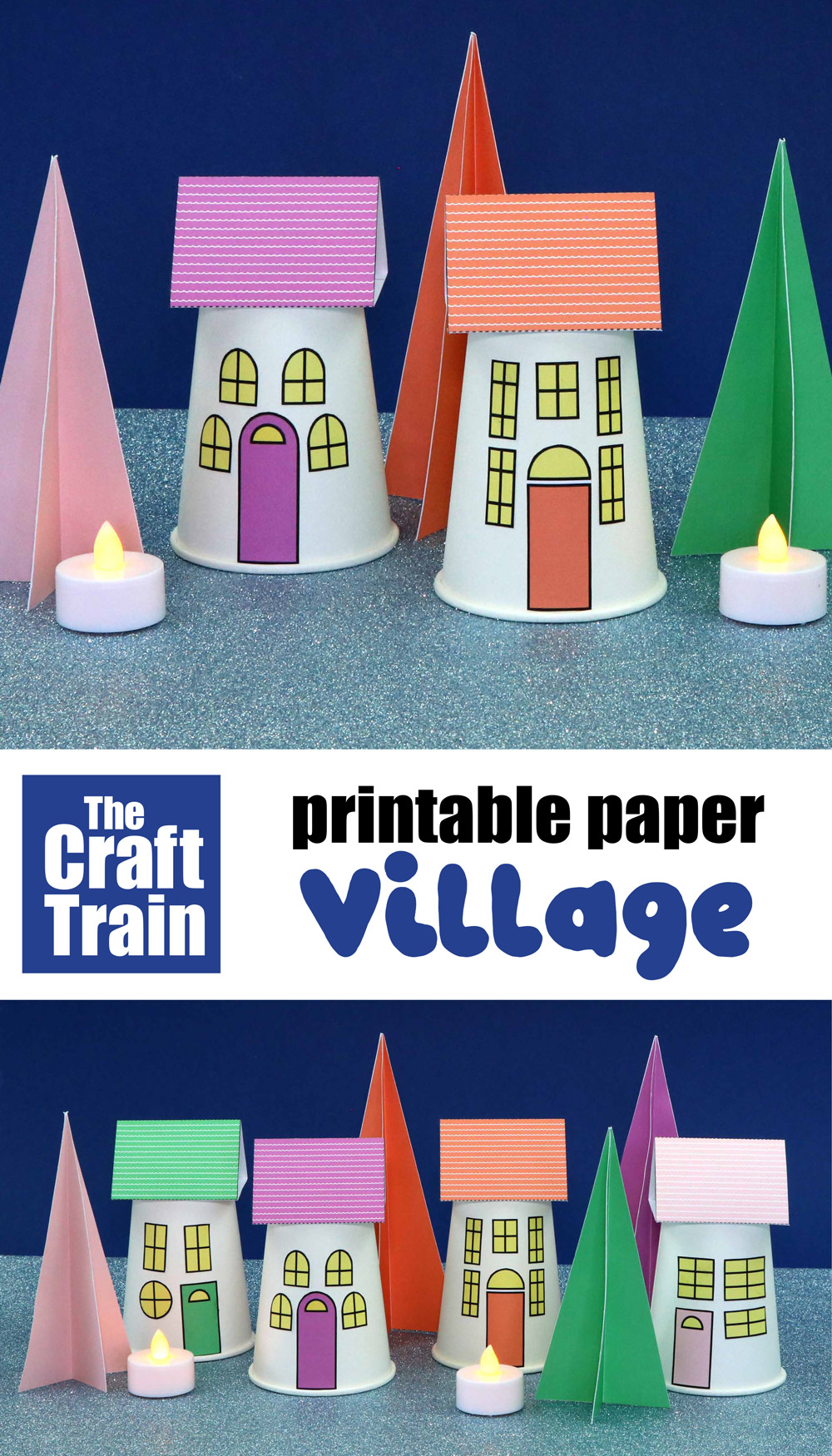 paper village for Christmas or Winter with free printable template