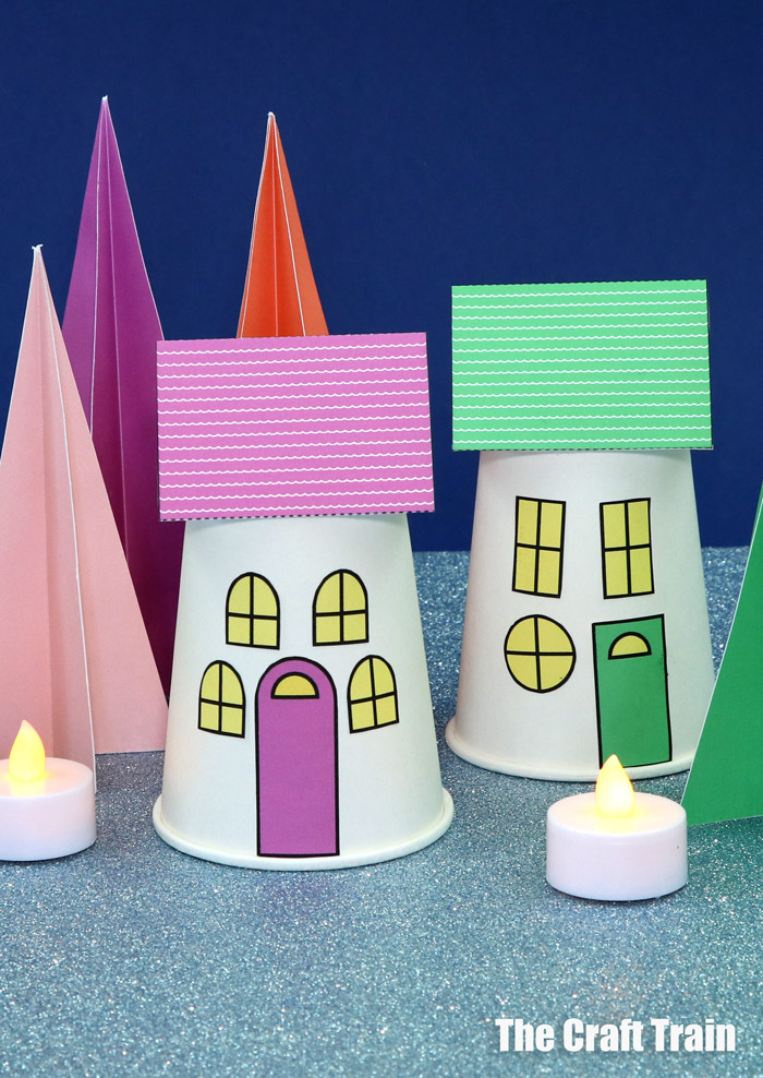 Paper Christmas village and trees