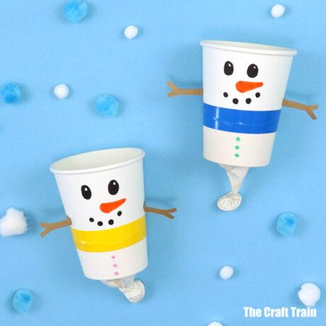 snowman craft pom pom poppers