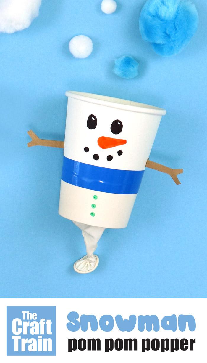 Pom pom popper snowman craft