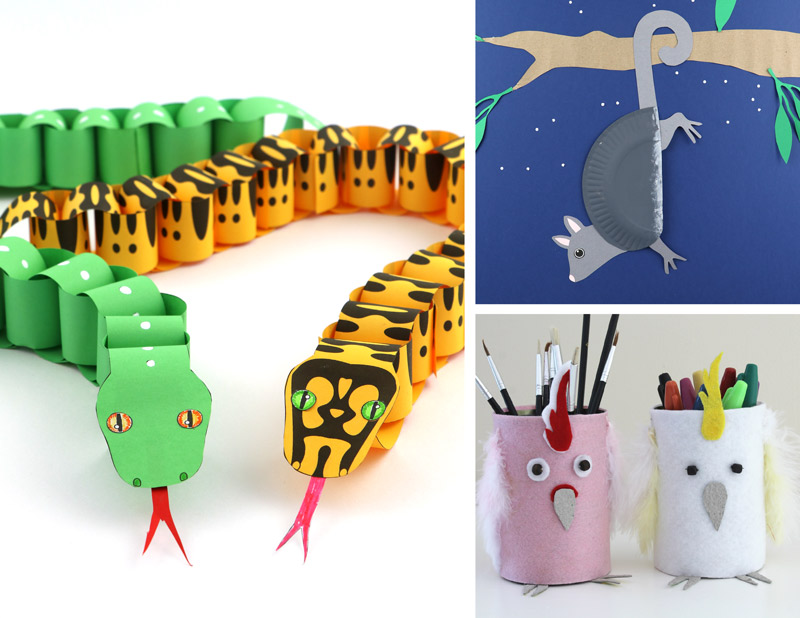 paper chain snakes, paper plate possum and cockatoo pencil tins