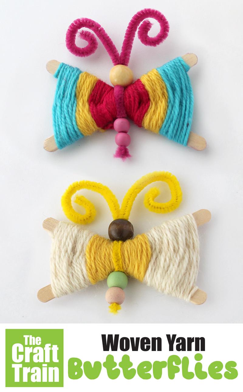 Yarn butterfly weaving craft for kids