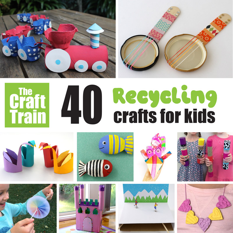 Recycled crafts kids can make including upcycling cardboard boxes, plastic lids, egg cartons, paper rolls, cereal boxes and paper. Great for Earth day or for being environmentally friendly any time of year.