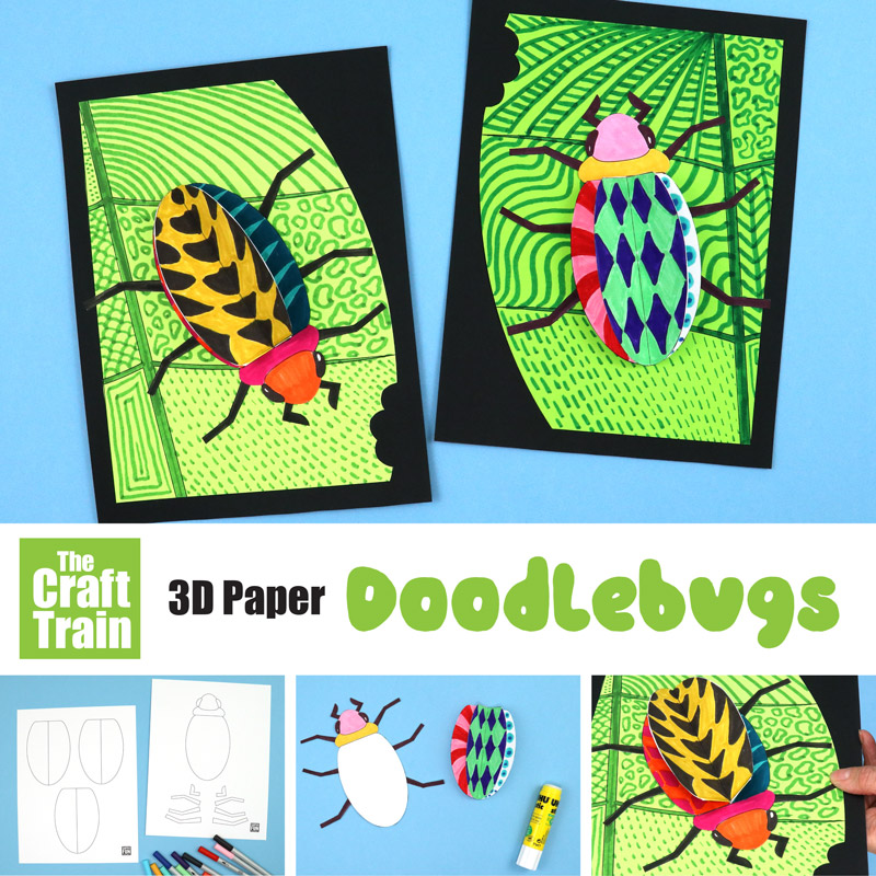 3D bug craft for kids with doodle patterns and printable template