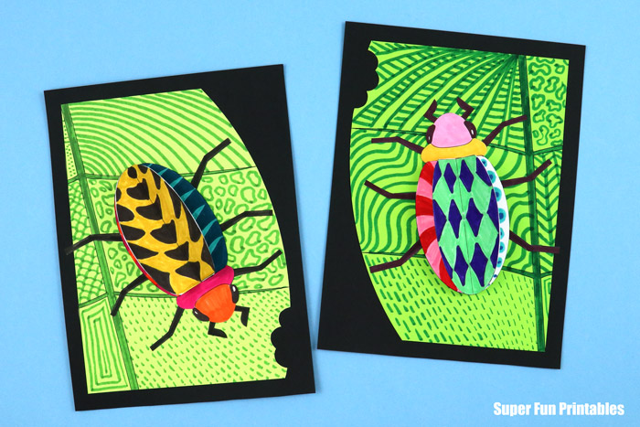Finished doodlebug craft. This is a fun STEM insect craft idea with a printable template