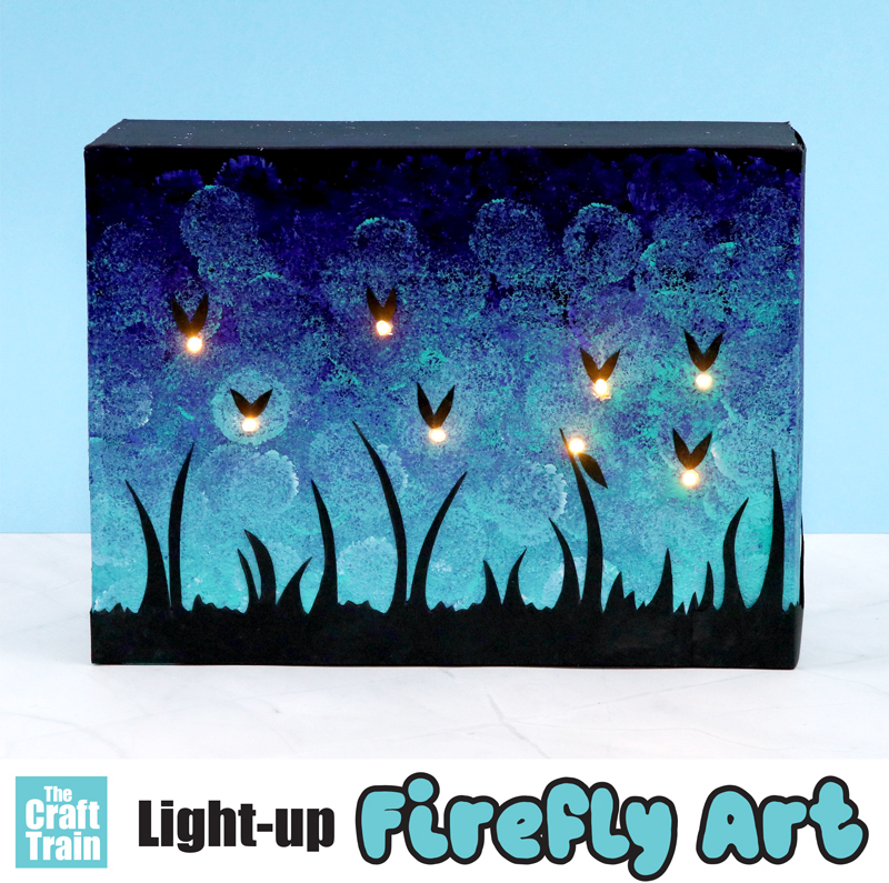 Firefly art project for kids with light-up fireflies