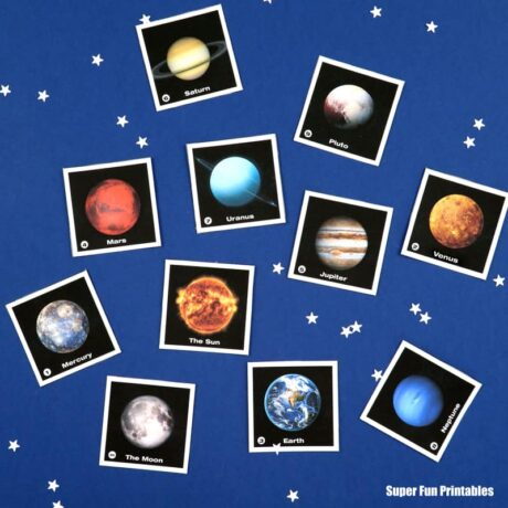 DIY solar system cards free printable for kids to learn about planets
