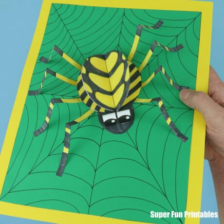 3d paper spider craft for kids with printable template