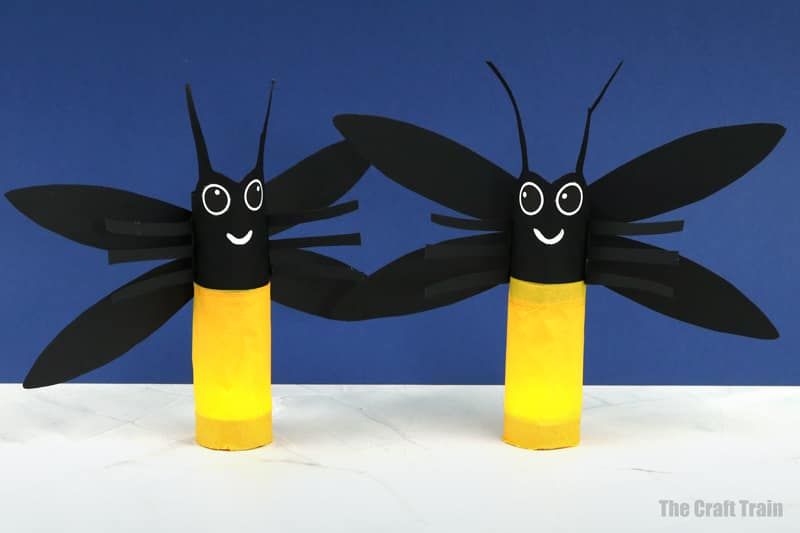 paper roll fireflies that light up in the dark