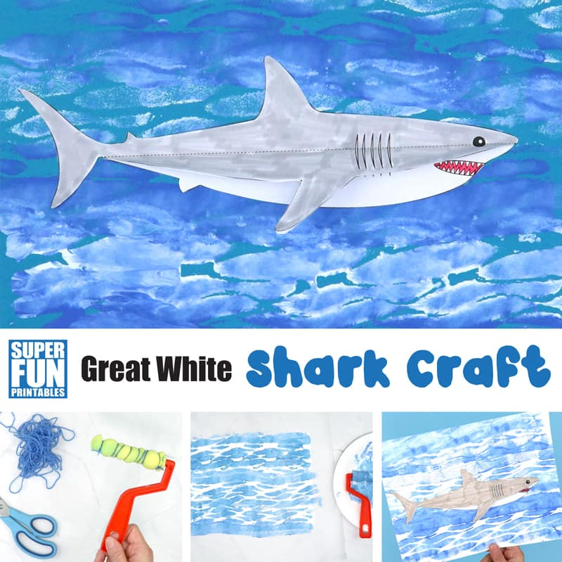 great white shark craft with rippled ocean texture