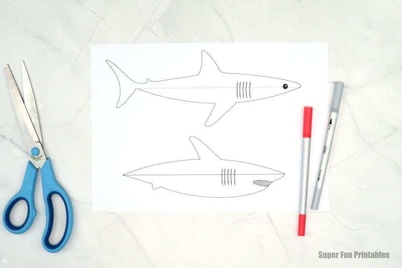 shark template for colouring in paper craft shark