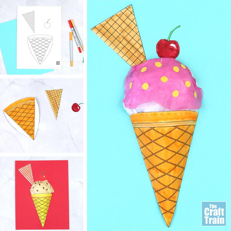 3D paper ice cream craft with steps