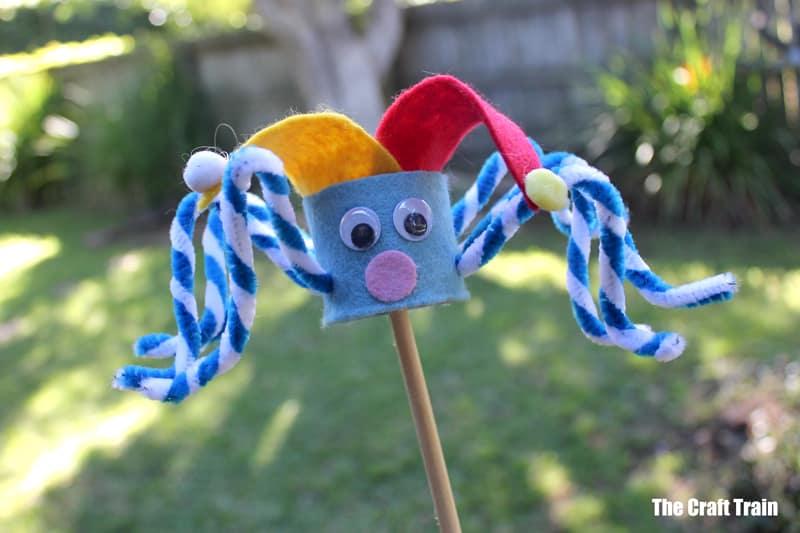 jester paper roll spider stick puppet
