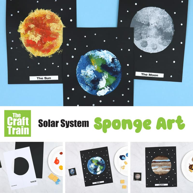 solar system art idea for kids using sponge painting and a masking technique