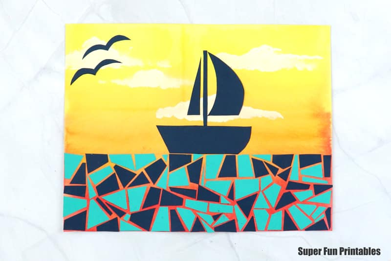finished sunset boat paper mosaic artwork