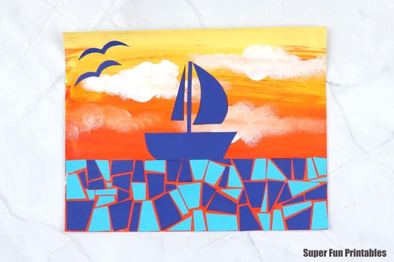 sunset boat scene paper mosaic on acrylic blended sky background