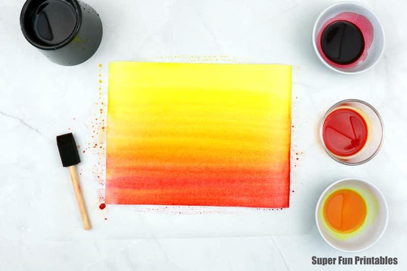 watercolour sunset art step 2
