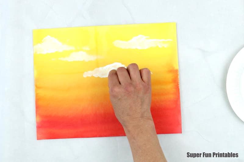 watercolour sunset art step 4