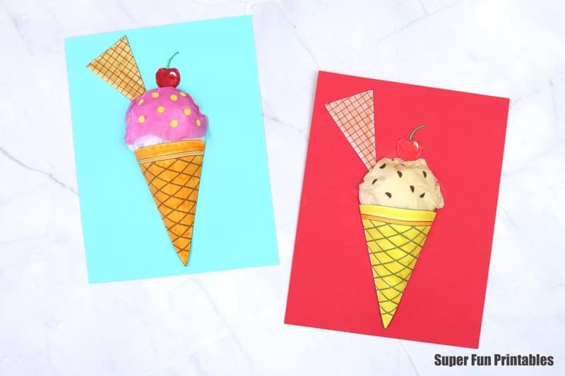 3D paper ice cream cone craft