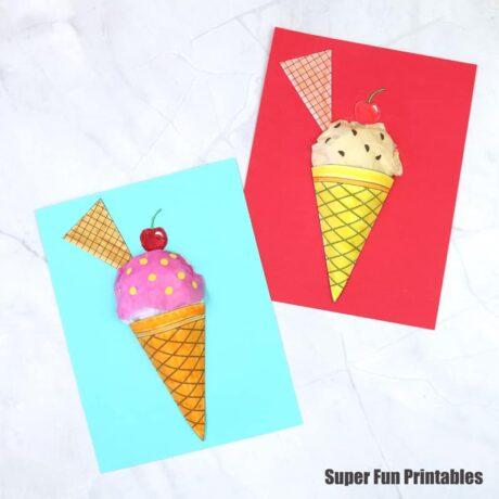 3D paper ice cream craft for kids