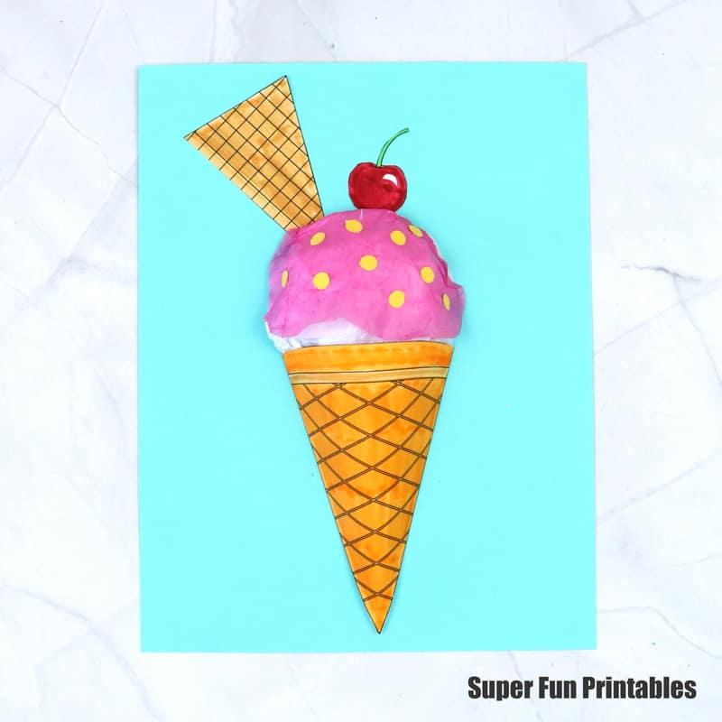 3D paper ice cream craft