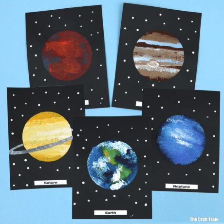 solar system art idea for kids with free printable template