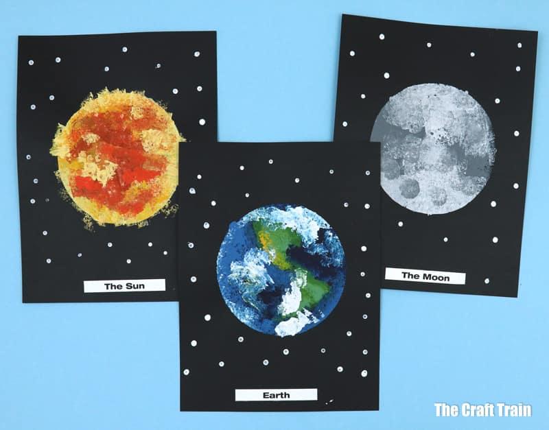 the sun, earth and moon art created using sponge art