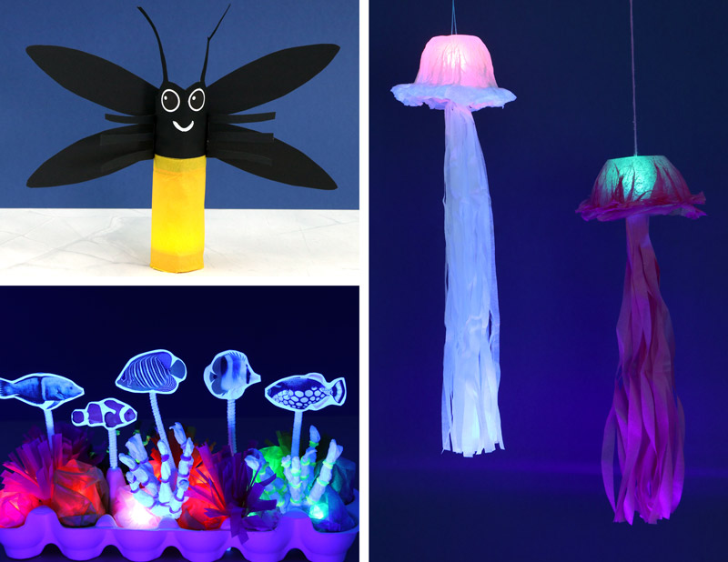 Light up craft ideas for kids including a firefly, jellyfish and an egg carton coral reef