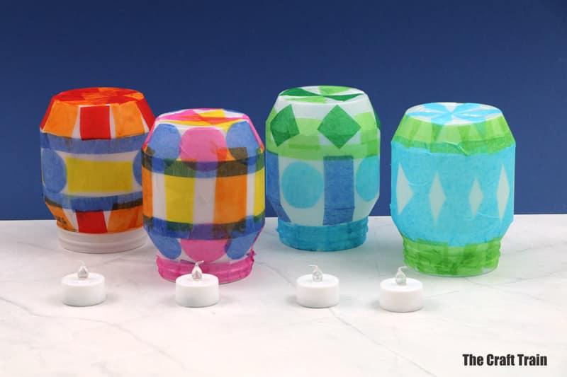 finished tissue paper lanterns