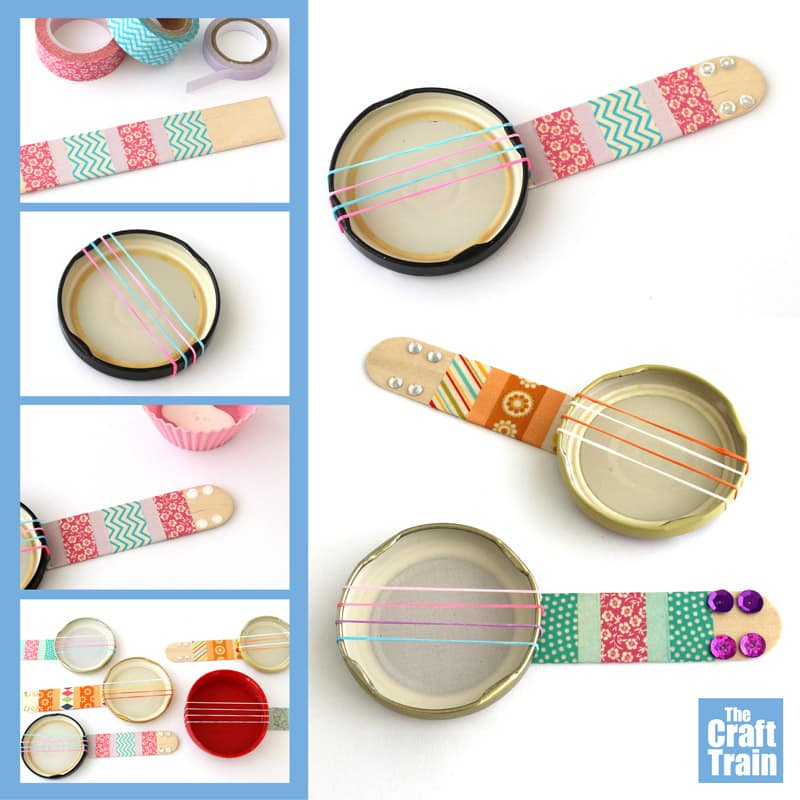 Mini banjo craft idea for kids. Make a recycled mini lid banjo from jar lids strung with loom bands