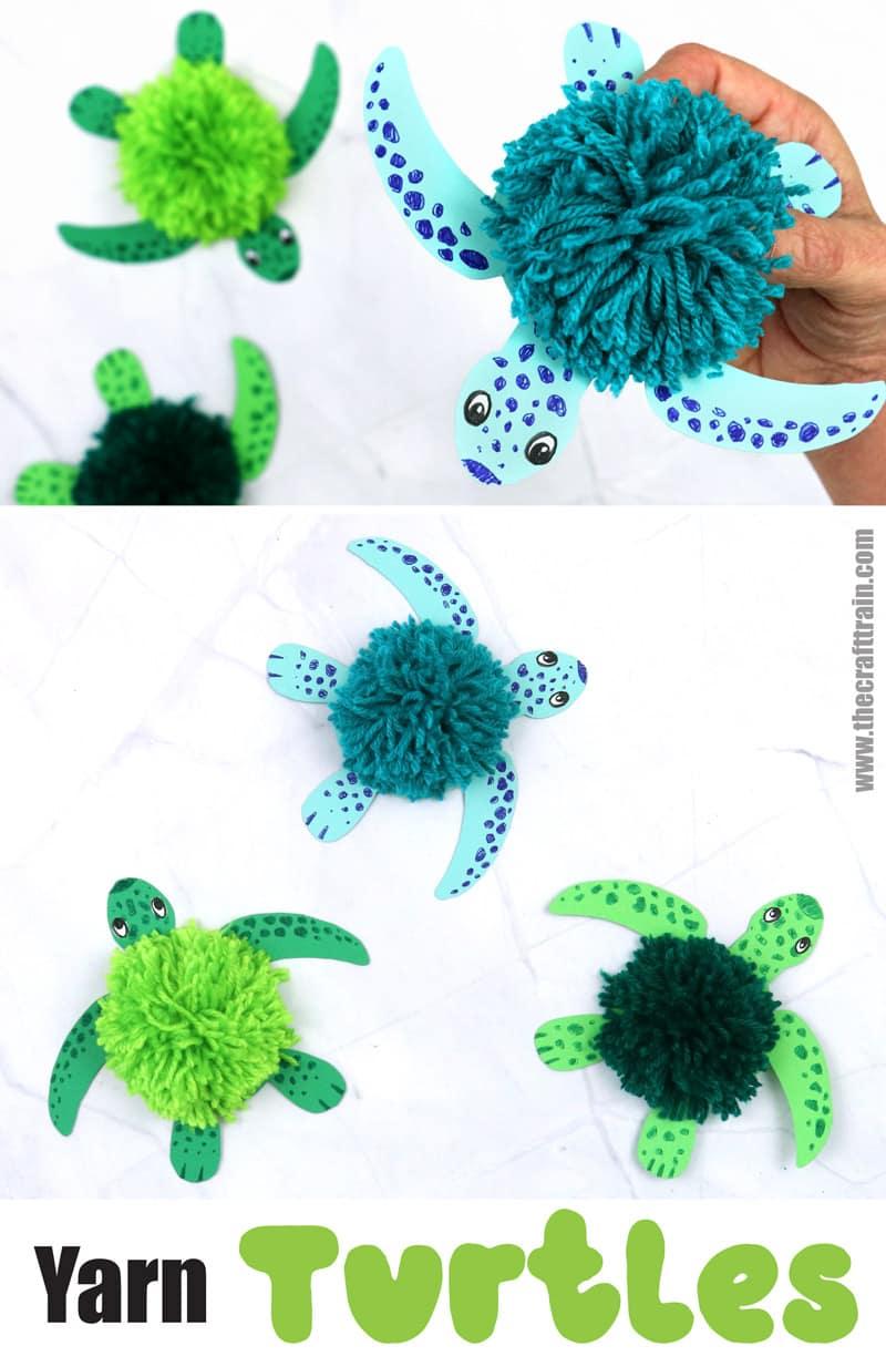 Fluffy yarn turtle craft for kids