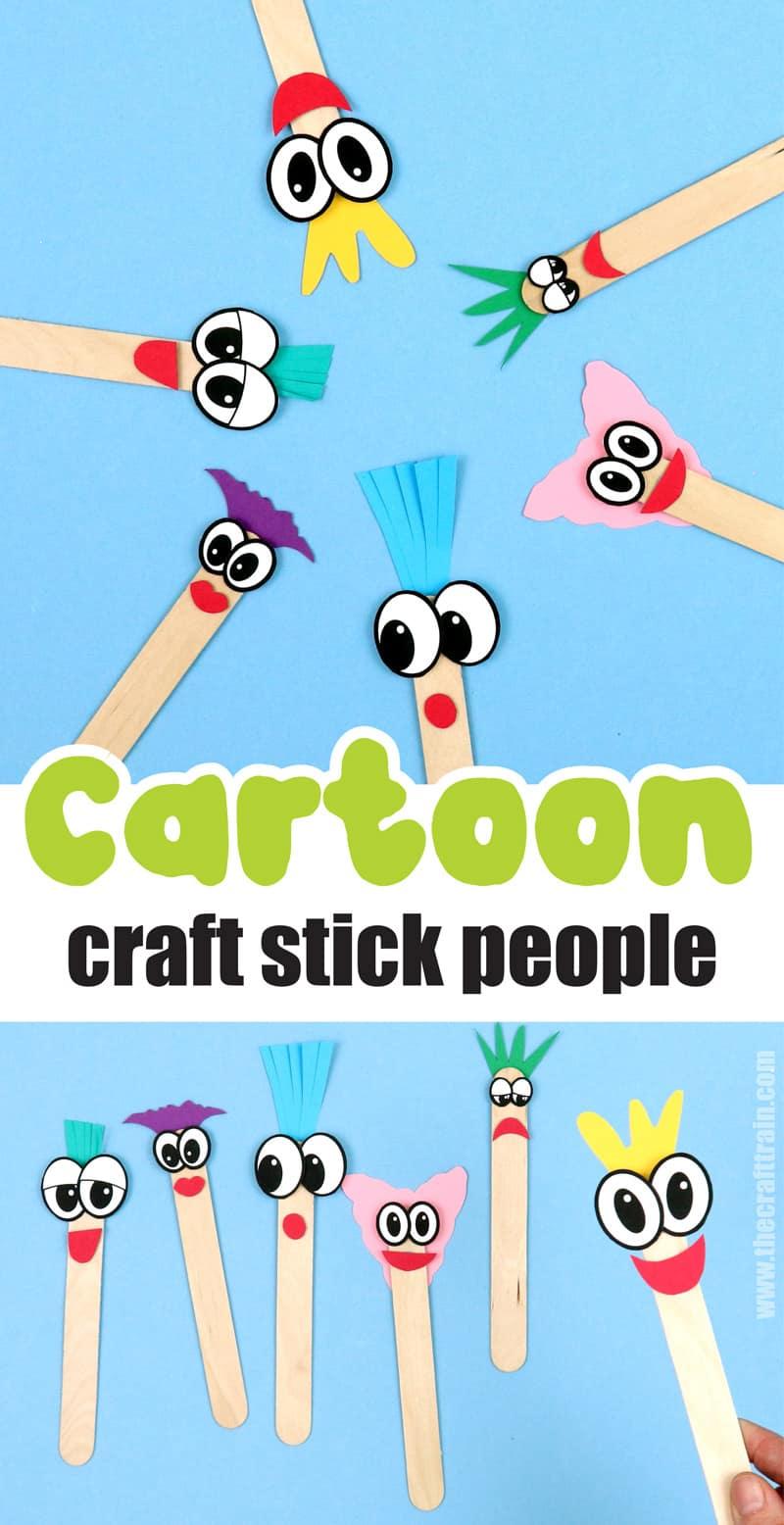 cartoon craft stick puppet cidea for kids. A fun craft stick craft idea