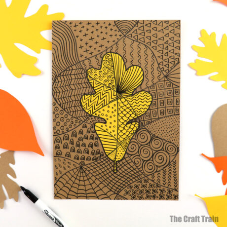 doodle art for AUtumn or Fall using leaf shapes