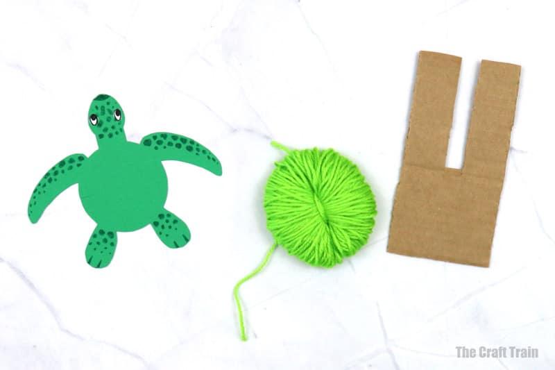 fluffy yarn turtle craft process