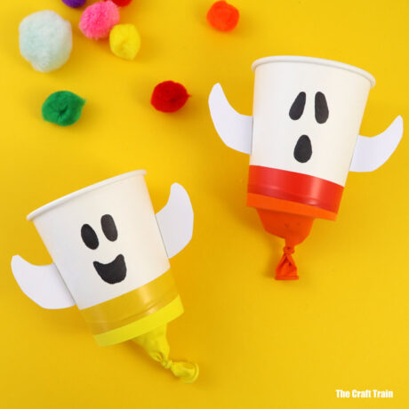 Easy pom pom popper ghost craft for kids
