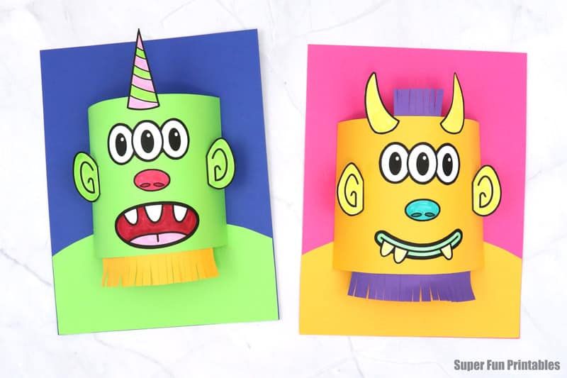 3D monster paper craft idea for kids. Make a colourful monster portrait with a pop-out head