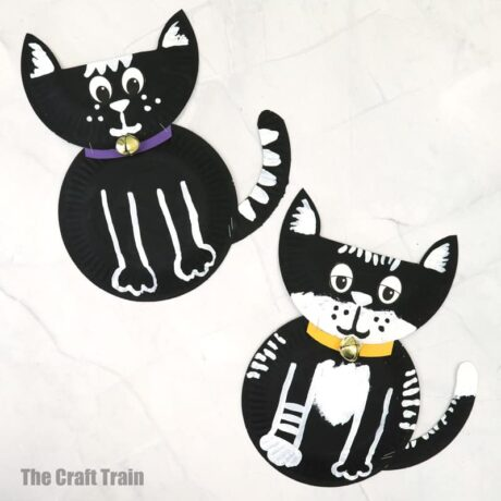 black and white paper plate cat craft