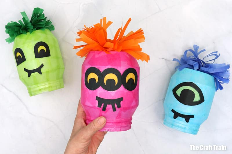 Monster lantern DIY idea made from recycled plastic yoghurt tub